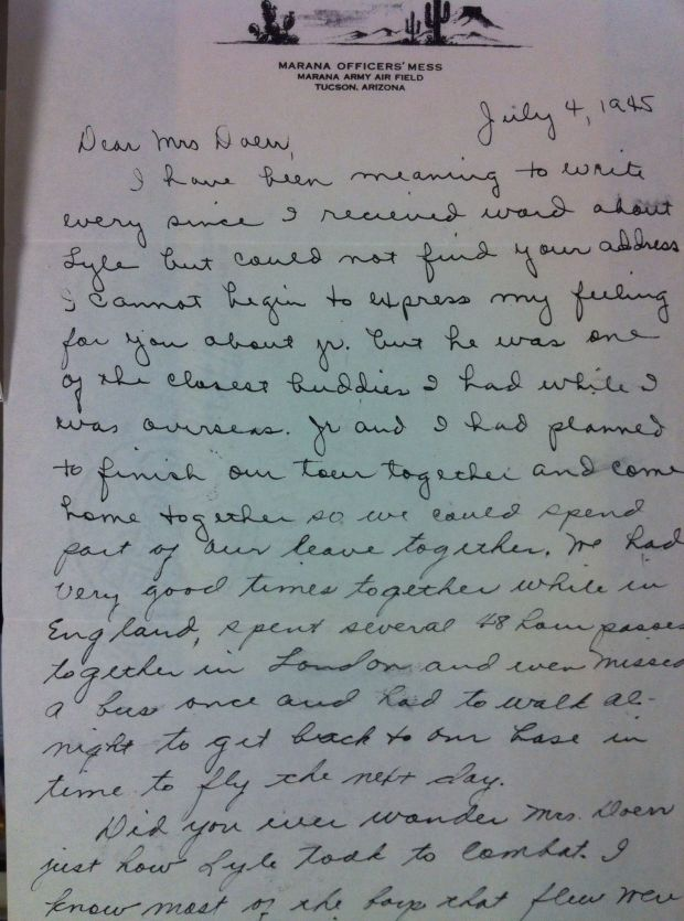 "sympathy letter to the mother of a lost soldier, from a friend who writes in his four page letter (on display) your son was ""one of the closest buddies I had when I was overseas"" and the shares his heartbreak"